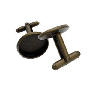 Rustic Antique Bronze Cuff Link Bezel Settings